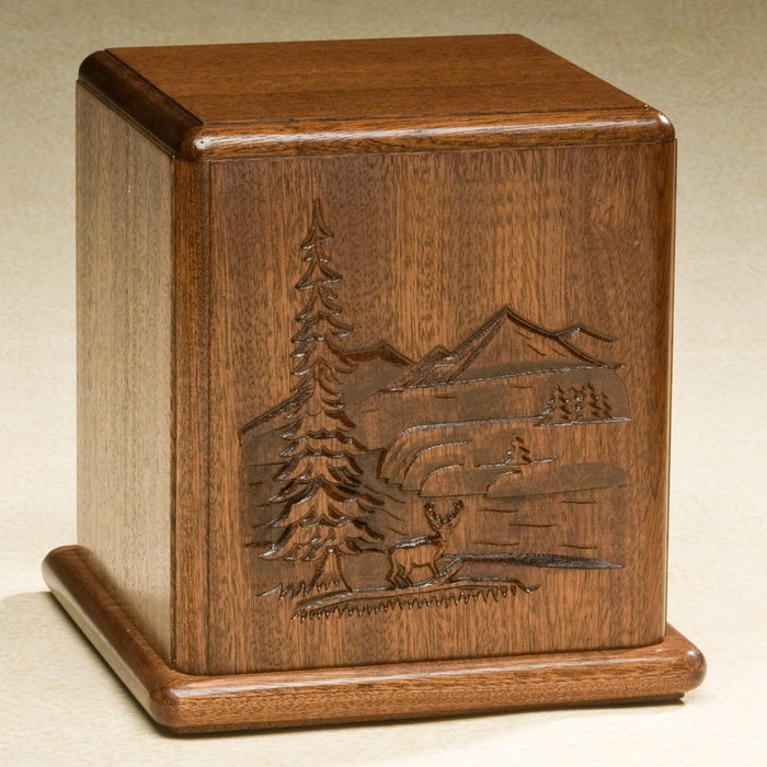 Relief Series Beautifully Carved Deer And Mountains On Mahogany Wood Adult 200 cu in Cremation Urn-Cremation Urns-Infinity Urns-Afterlife Essentials