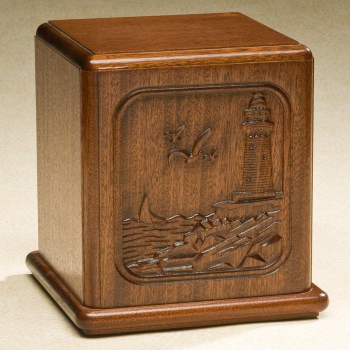 Relief Series Beautifully Carved Seaside Lighthouse On Mahogany Wood Adult 200 cu in Cremation Urn-Cremation Urns-Infinity Urns-Afterlife Essentials