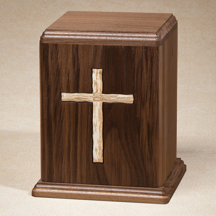 Rugged Cross Walnut Wood Adult 200 cu in Cremation Urn-Cremation Urns-Infinity Urns-Afterlife Essentials