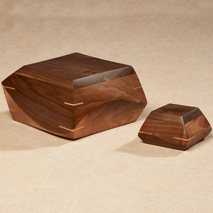 Woodsculpt Series Walnut Wood 200 cu in Cremation Urn-Cremation Urns-Infinity Urns-Afterlife Essentials