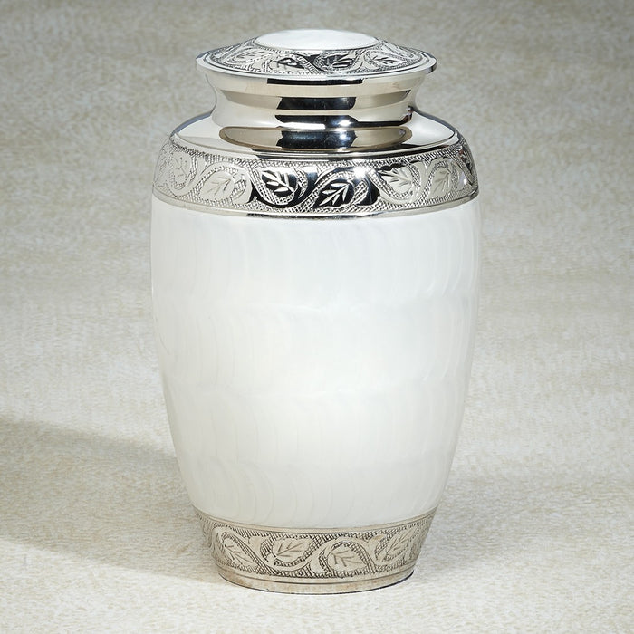 White Soft Pastel 212 cu Brass Cremation Urn