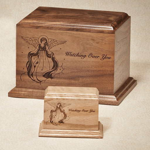 Watching Over You 52 cu Oak with Vignette Of Angel Wooden Cremation Urn