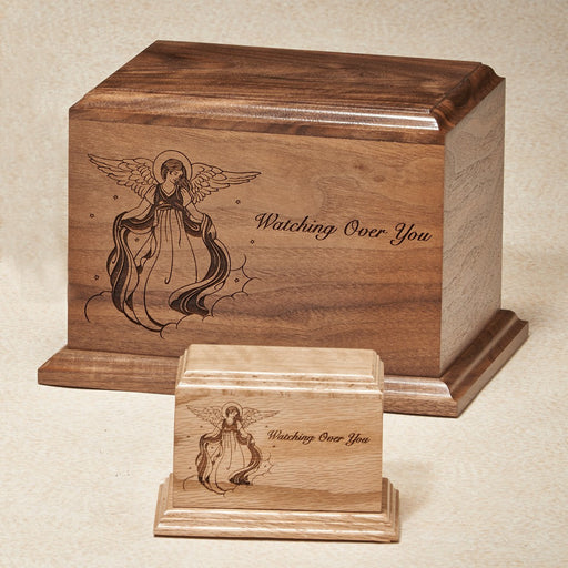 Watching Over You 200 cu Solid Walnut with Vignette Of Angel Wooden Cremation Urn