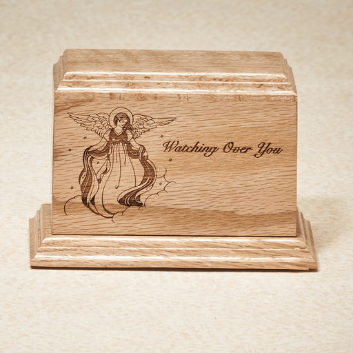 Watching Over You 15 cu Solid Oak with Vignette Of Angel Wooden Cremation Urn