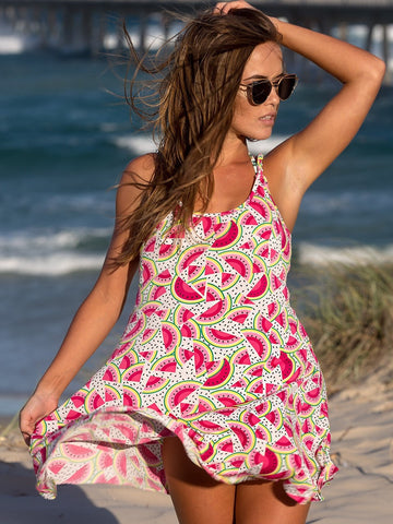 Dollboxx Dress Festival Summer Dress - Pink Watermelon Print