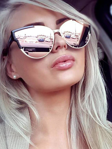 Dollboxx Sunglasses Slay - Rose Gold Mirror Reflective Sunglasses