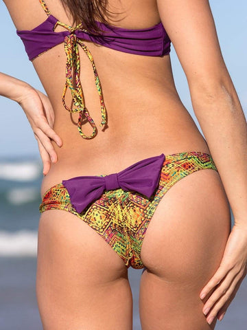 Dollboxx Swimwear Aztec Rainbow - Booty Pop Bow Bikini Bottom
