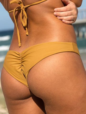 Dollboxx Swimwear Flaunt It Cheeky Bottoms - Tan