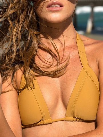 Dollboxx Swimwear Slide Triangle Bikini Top - Tan