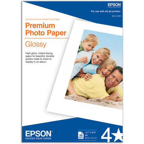"Epson | Premium Glossy Photo Paper for Inkjet 11.7x16.5"" (A3) - 20 Sheets"