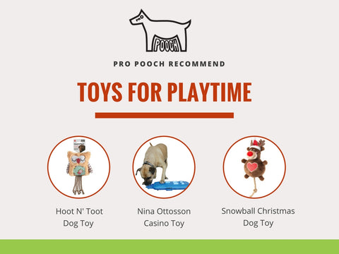 recommended dog christmas presents from the list including owl toy, dog casino and house of paws snowball christmas dog toy