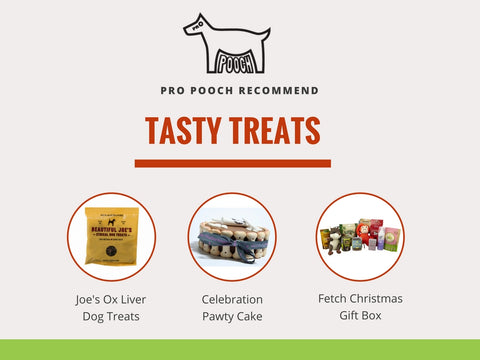 a selection of dog christmas treats from the tasty treats section, gifts to go in the christmas stocking include some ox liver dog treats, a pawty cake and a limited edition box set from fetch