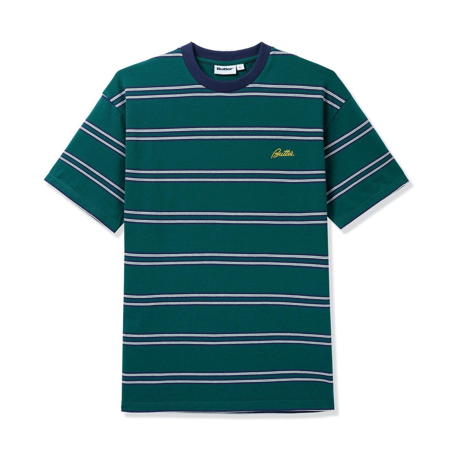 Market Stripe Tee, Forest / Navy / Yellow