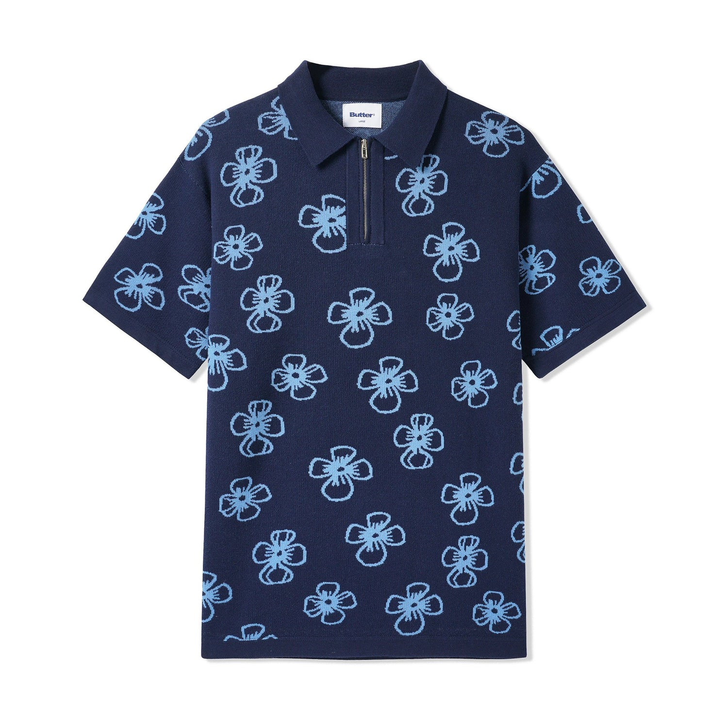 Flower Zip Polo, Navy / Pale Blue