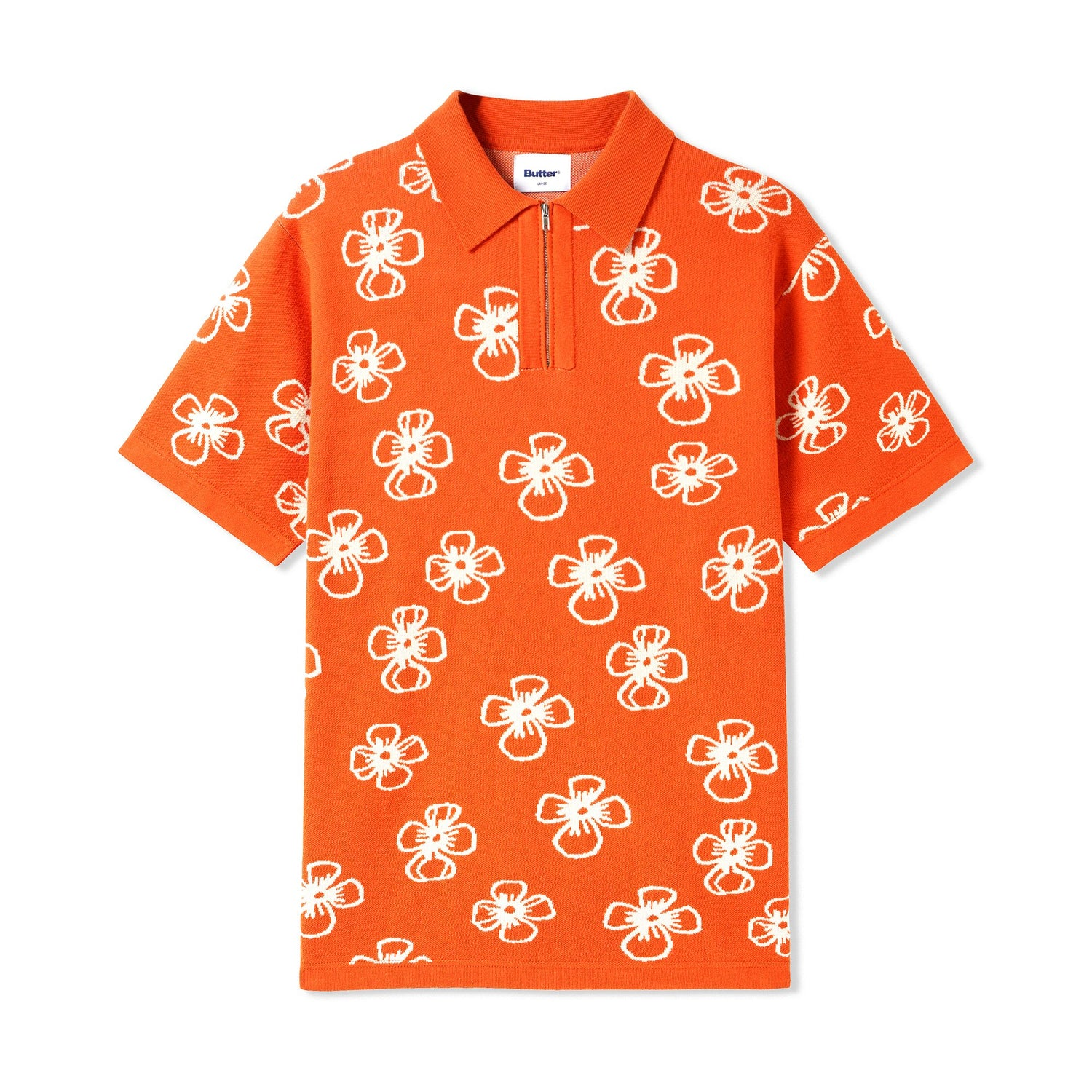 Flower Zip Polo, Rust / Off-White
