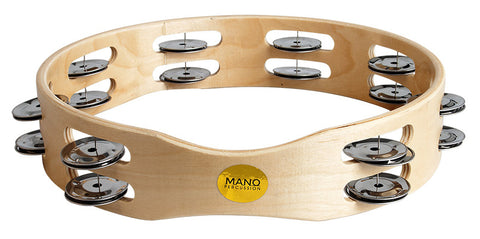 "MANO PERCUSSION 10"" TAMBOURINE HEADLESS WOOD 18 X JINGLES"