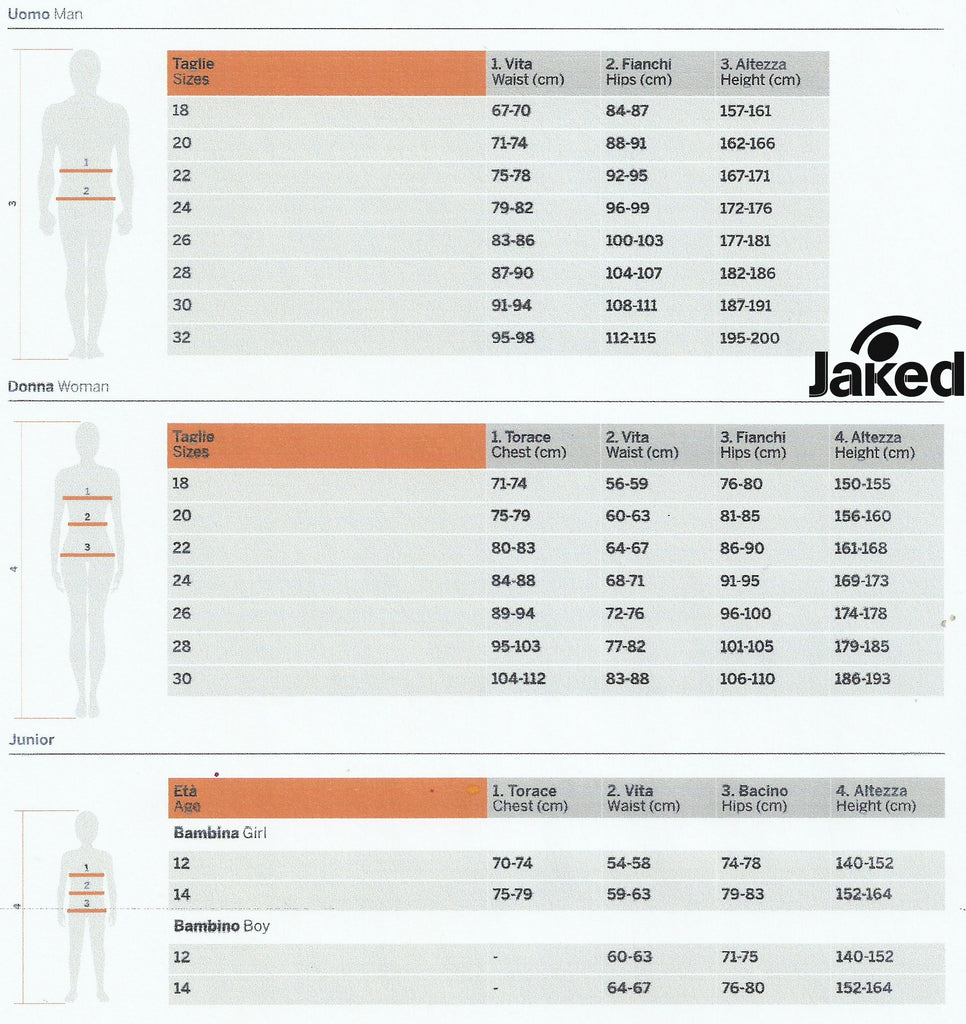 Jaked Complete Size Chart | Swim World