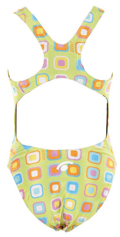 Girls Training One-Piece Geometric Swimsuit, Jaked US Store