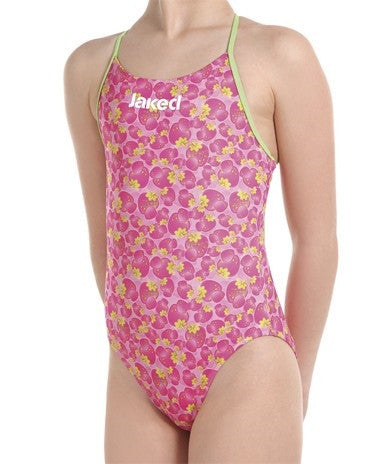 Girls Training One-Piece Pink Power Swimsuit, Jaked US Store
