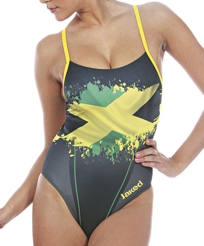 Women's Training One-Piece Flag Jamaica Swimsuit, Jaked US Store