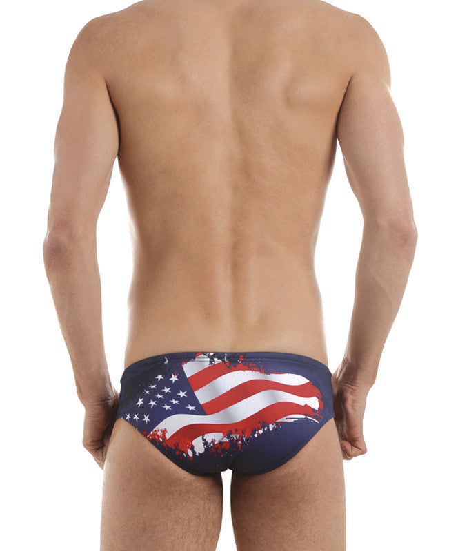 Men's Training Brief Flag USA Swimsuit, Jaked US Store