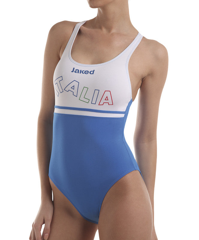 Women's Italia Team One-Piece Wavy Swimsuit, Jaked US Store