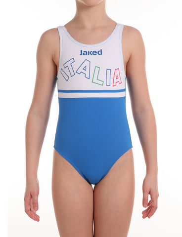 Girls Italia Team One-Piece Wavy Swimsuit, Jaked US Store