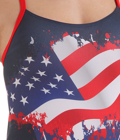 Women's Training One-Piece Flag USA Swimsuit, Jaked US Store