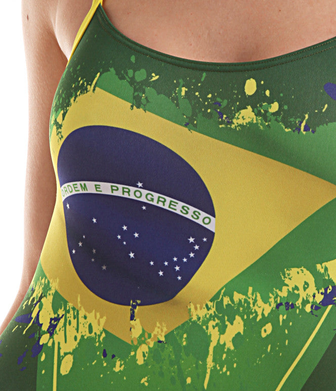 Women's Training One-Piece Flag Brazil Swimsuit, Jaked US Store