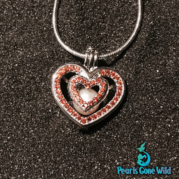 Sterling Silver Jeweled Heart Pendant & Necklace
