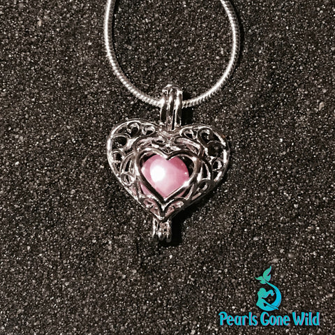 Sterling Silver Laced Heart Pendant & Necklace