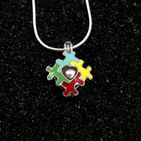 Sterling Silver Autism Puzzle Pendant & Necklace
