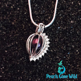 Sterling Silver Jeweled Cage Pendant & Necklace