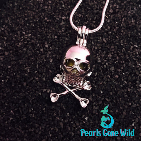 Sterling Silver Skull Pendant & Necklace