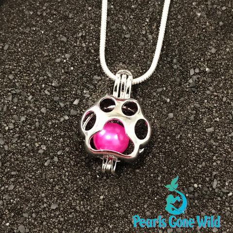 Sterling Silver Paw Print Pendant & Necklace