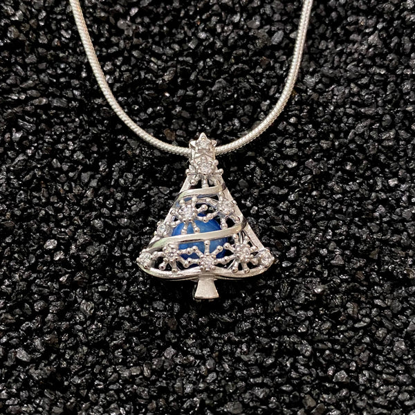Sterling Silver Sparkling Christmas Tree Pendant & Necklace