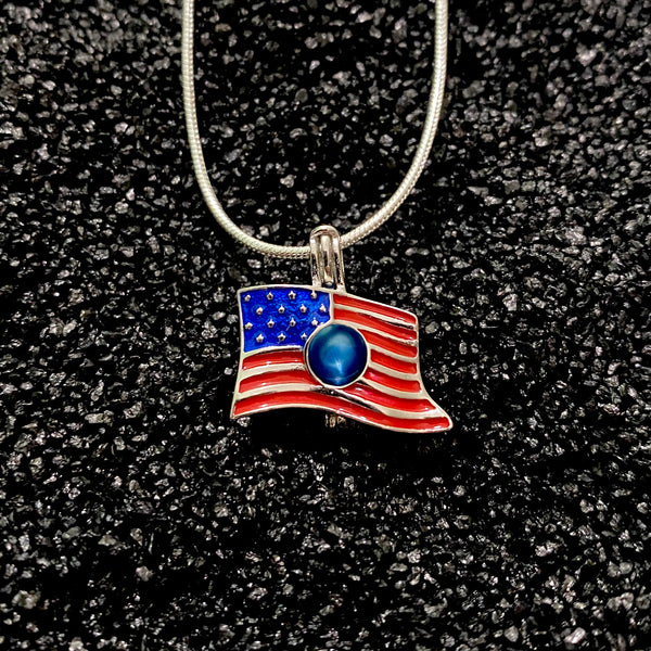 Sterling Silver American Flag Pendant & Necklace
