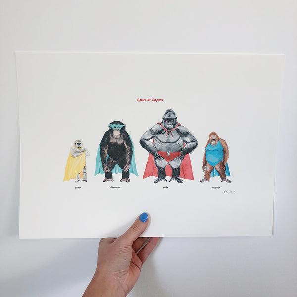 APES IN CAPES PRINT