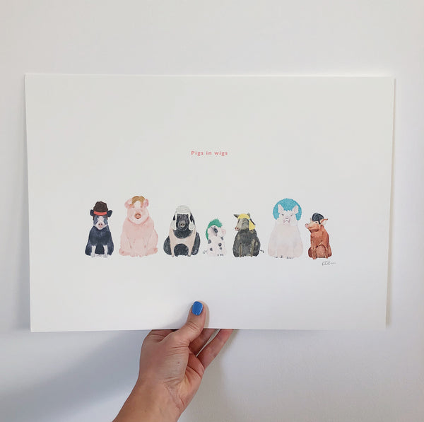 PIGS IN WIGS PRINT