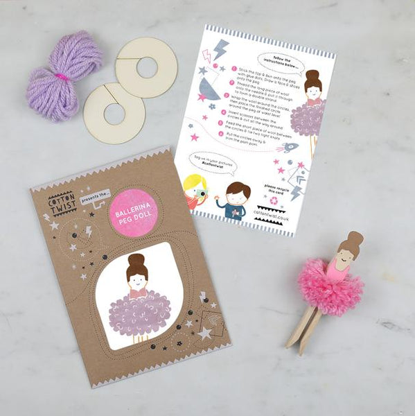 MAKE YOUR OWN POM POM BALLERINA PEG DOLL KIT