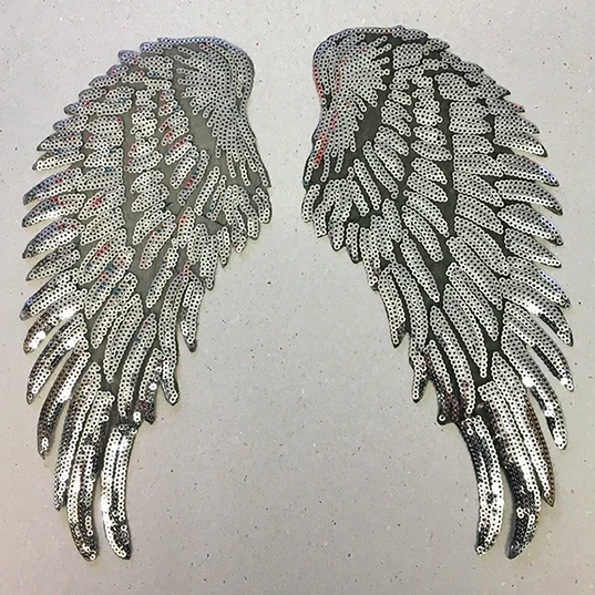 IRON ON PATCH - SILVER SEQUIN WINGS (LARGE)