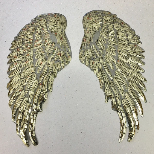 IRON ON PATCH - GOLD SEQUIN WINGS (LARGE)