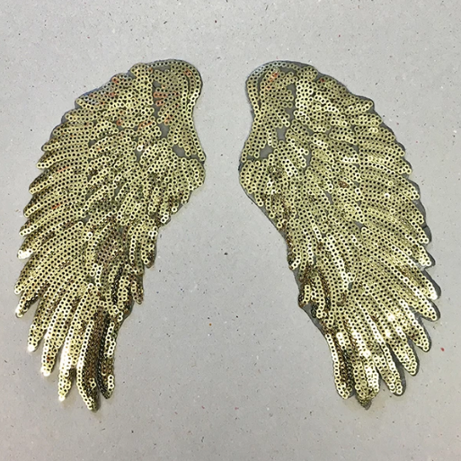 IRON ON PATCH - GOLD SEQUIN WINGS (SMALL)