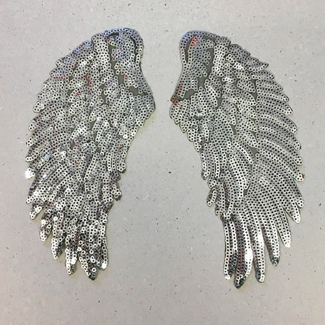IRON ON PATCH - SILVER SEQUIN WINGS (SMALL)