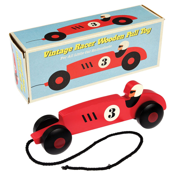 VINTAGE RACING CAR PULL ALONG TOY
