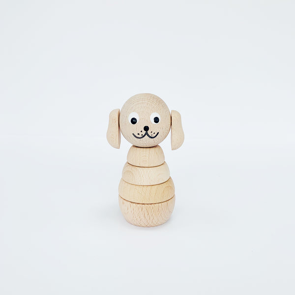 WILBUR - WOODEN DOG STACKING TOY
