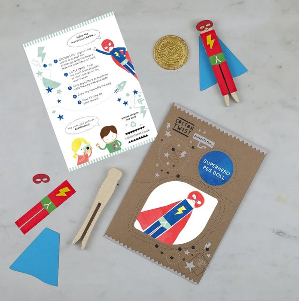MAKE YOUR OWN SUPERHERO PEG DOLL