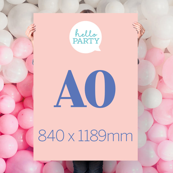Personalised Party Poster sizes Hello Party