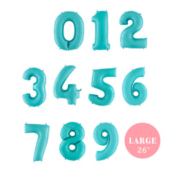 "Large Pastel Blue Number Foil Balloons (26"")  Balloons Grabo Balloons - Hello Party"