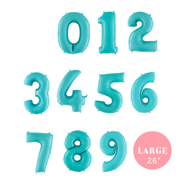 "Large Light Blue Number Foil Party Balloons (26"")"